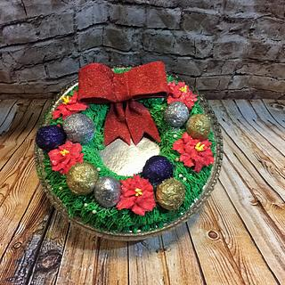 Christmas wreath with baubles cake. - Cake by Inspired Sweetness