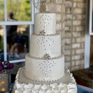 Pearl White and Silver Wedding Cake