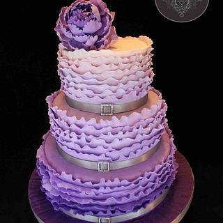 Ruffle Ombre Purple Peony Cake