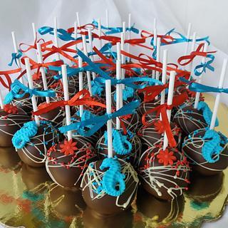 cake pops red&blue  - Cake by Nadi Ivanova
