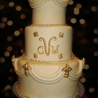 Ivory Swags Wedding Cake