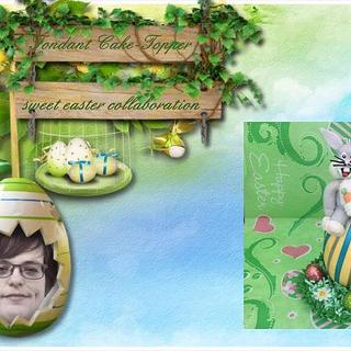 Fondant Cake Topper Sweet Easter Samenwerking-Bunny on easteregg