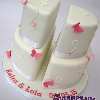 Split 2 Tier Christening Cake for Twins!