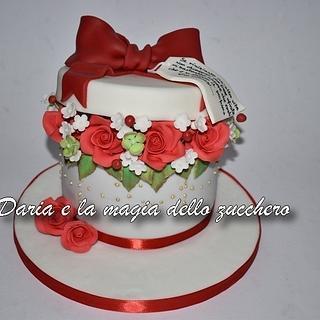 Flower box cake for Valentine's day