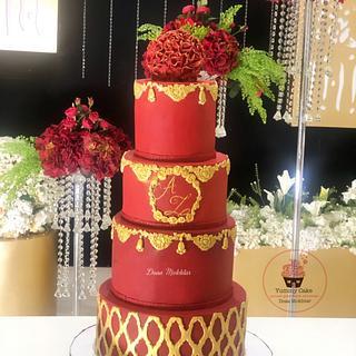 Red royal wedding cake