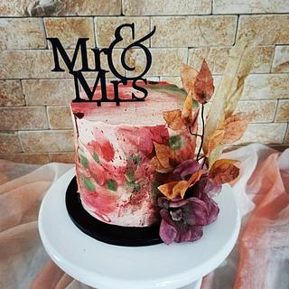 Autumn whipped cream cake 🍁🍂