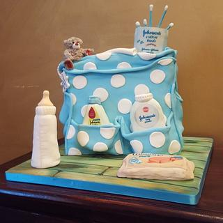 Diaper bag cake for baby shower - Cake by Cake Towers