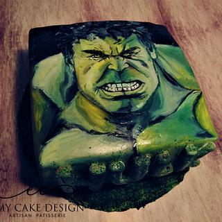 Hulk hand painted cake