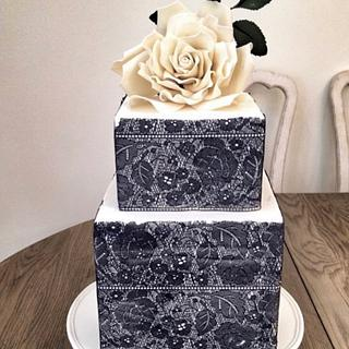 Engagement Cake with White Rose