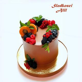 Birthday cake with fresh fruit