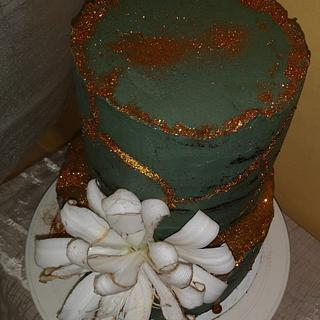 Birthday stone effect  crackled cake