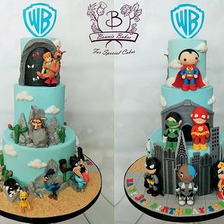 Cute Superhero and Loony Tunes cake - Cake by Bonnie Bakes UAE