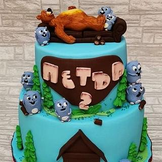 Grizzy and the Lemmings cake