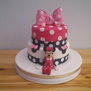 Minnie Mouse tiered cake.