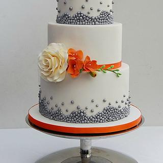 Burnt Orange and Silver Bead Wedding Cake