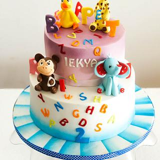 Alphabets and Animals cake