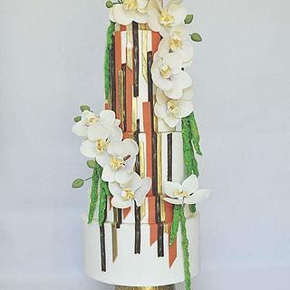 Contemporary Art Wedding Cake - Cake by Sumaiya Omar - The Cake Duchess