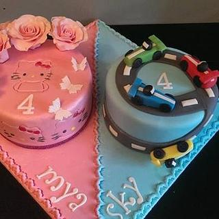 Cake for Twins  - Cake by KaysCakesBristol