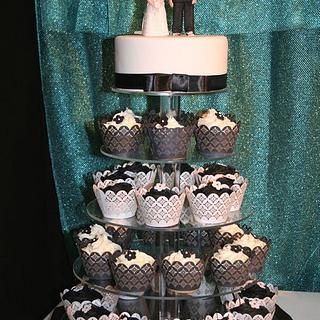 Black and White Cup Cake Wedding Cake