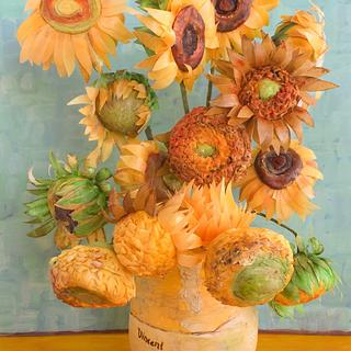 Van Gogh Sunflowers Tribute - Cake by Jenny Kennedy Jenny's Haute Cakes