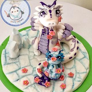 Mom and baby Dragon  - Cake by DixieDelight by Lusie Lioe