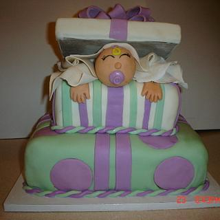 Baby in a Giftbox Baby Shower Cake - Cake by Dana