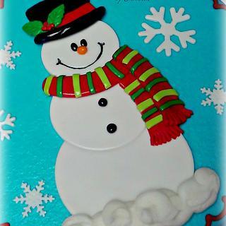 Cheerful Snowman Cake