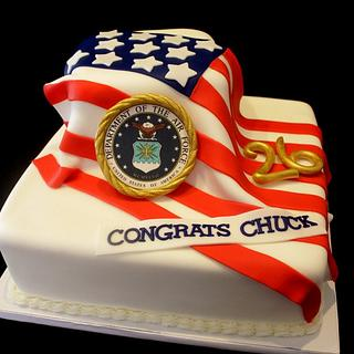 American Flag retirement cake