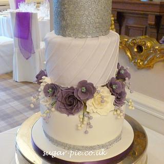 Sequin pleated wedding cake