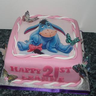 Disney Eeyore Photo cake with butterflies
