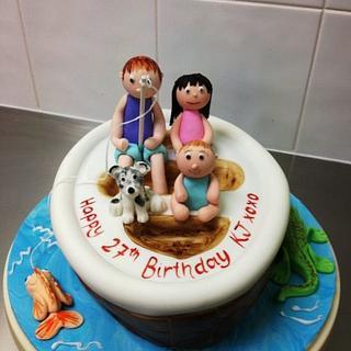 Little family boating cake