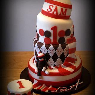 sock monkey 1st birthday cake - Cake by Deborah