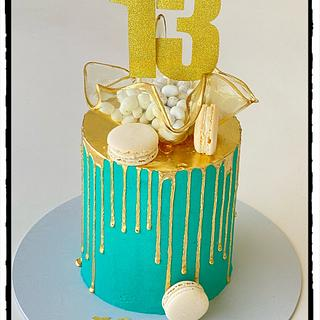 Gold and teal - Cake by Rhona