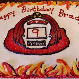 Firemans hat cake in Buttercream with flames!