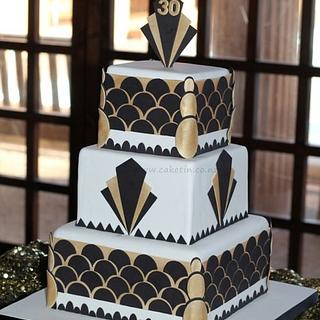 Art Deco 30th Birthday Cake