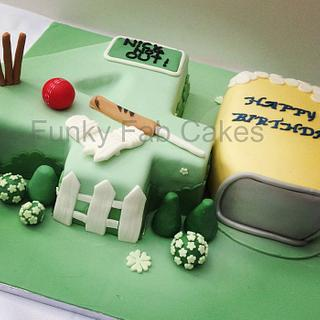 Number 40 cake with Cricket and beer mug theme