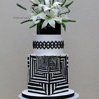 Black and white illusion cake