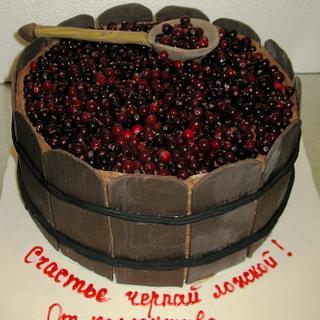 Cranberries in a barrel