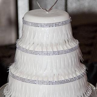 Feather-look Wedding Cake