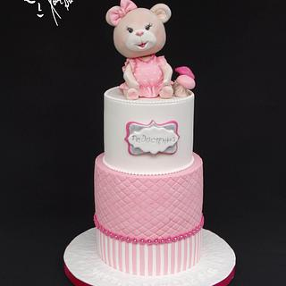 Pink cake with sweet bear - Cake by Diana
