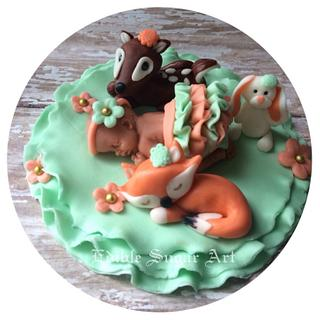 Woodland theme Baby shower cake topper