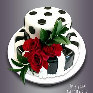 Black red white cake
