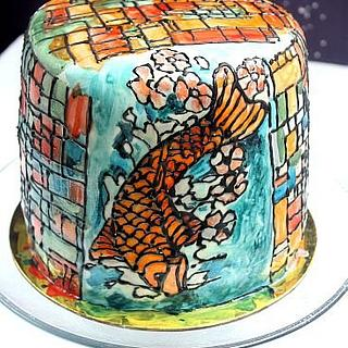 Koi Fish Stained Glass Cake
