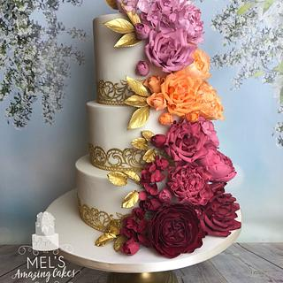 Ombré cascading sugar flower wedding cake