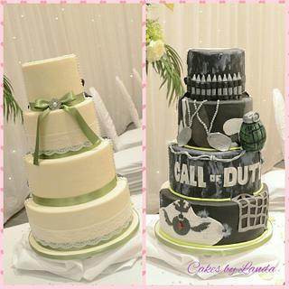 half and half call of duty wedding cake