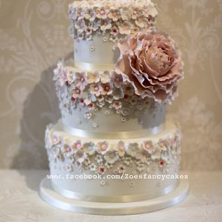Pretty Pale pink and Peony wedding cake