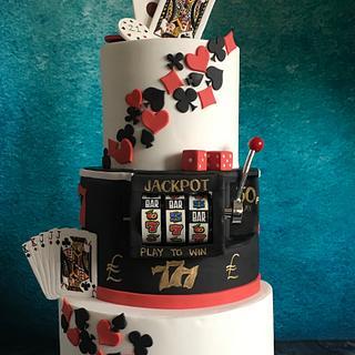 Casino poker theme 21st cake with slot machine