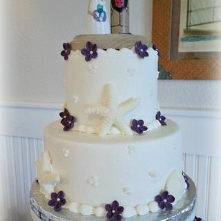 Plum Wedding - Cake by Donna Tokazowski- Cake Hatteras, Hatteras N.C.