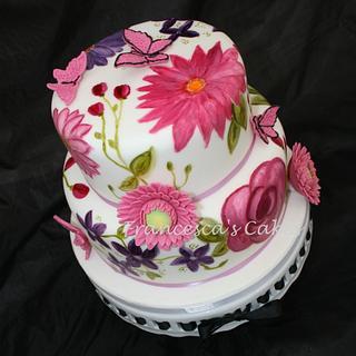 Handpainted Flowers Cake