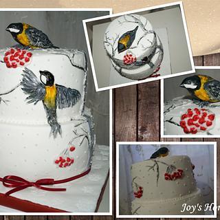 Winter Cake with birds